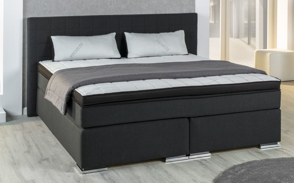 boxspringbett bx 980 180x200cm schwarz sb m bel discount. Black Bedroom Furniture Sets. Home Design Ideas