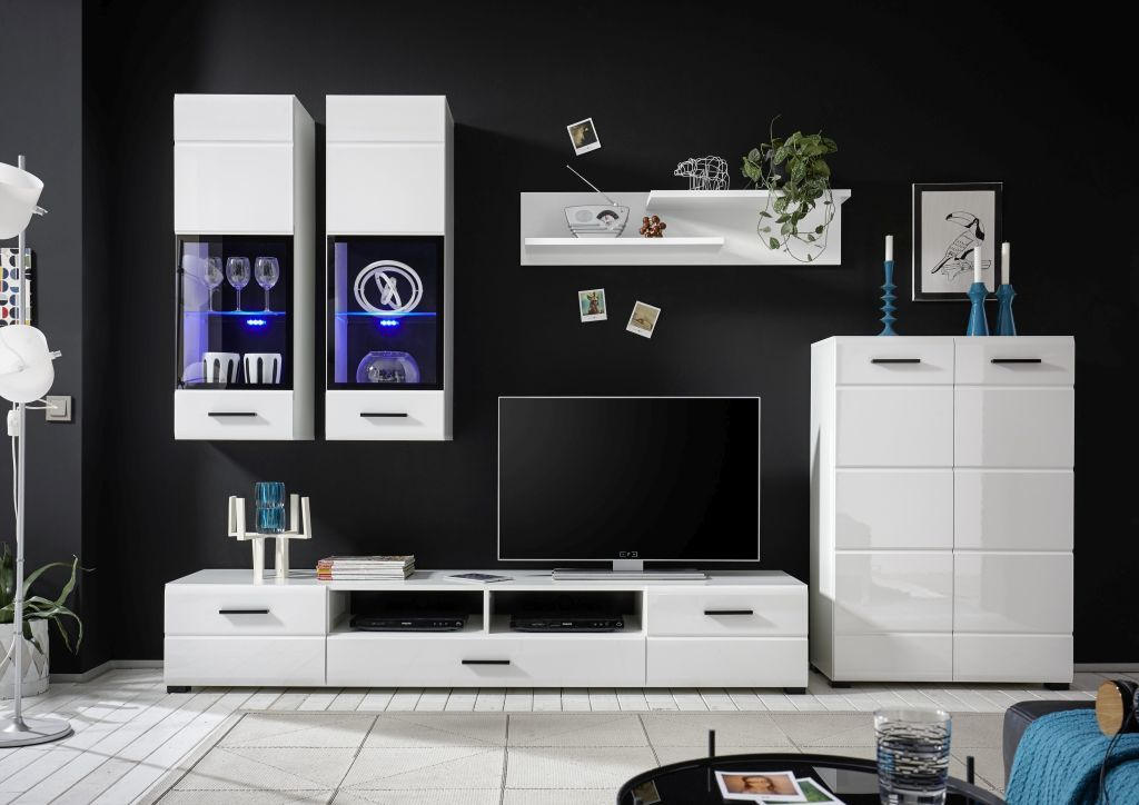 moderne wohnwand alaska weiss hochglanz frei stellbare elemente. Black Bedroom Furniture Sets. Home Design Ideas