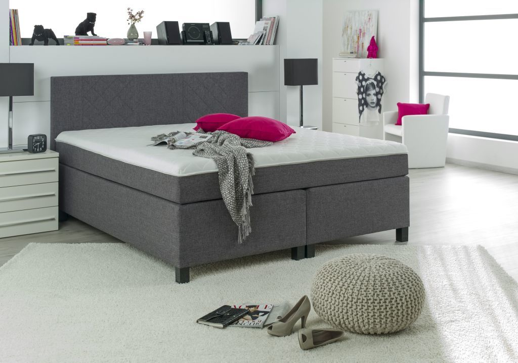 boxspringbett 140 x 200 cm bx 920 kentucky grau sb m bel discount. Black Bedroom Furniture Sets. Home Design Ideas
