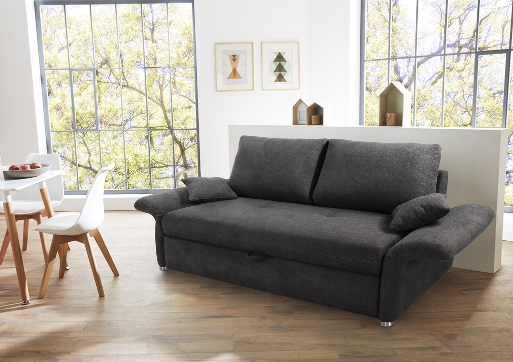 schlafsofa luca 160 dunkelgrau sb m bel discount. Black Bedroom Furniture Sets. Home Design Ideas
