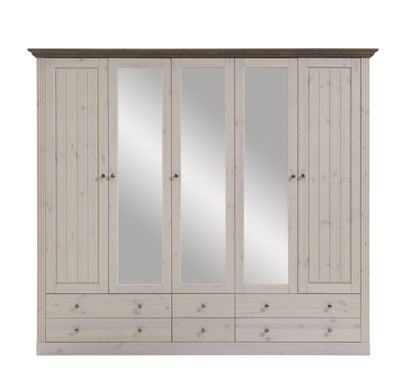 kleiderschrank monaco 115 230 cm breit mit spiegel mit schubladen 4 t rig kiefer massiv white. Black Bedroom Furniture Sets. Home Design Ideas