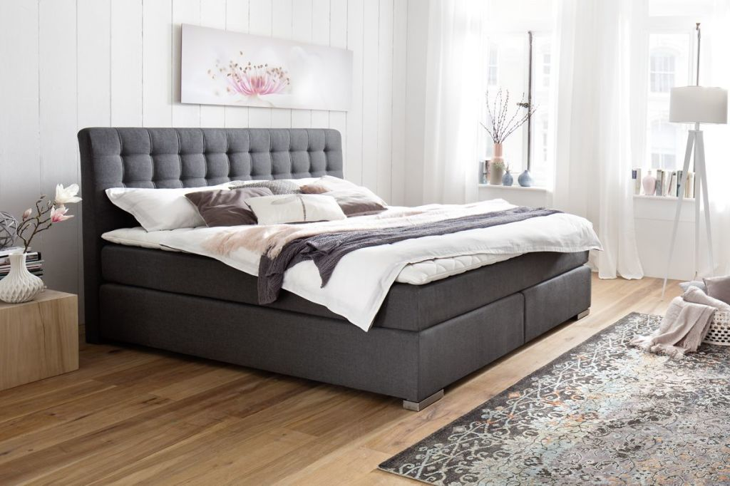 boxspringbett lenno 180x200cm anthrazit sb m bel discount. Black Bedroom Furniture Sets. Home Design Ideas