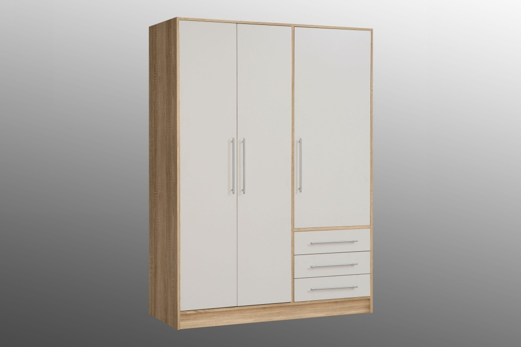 armoire v tements jupiter ch ne sonoma ton blanc sb meubles discount. Black Bedroom Furniture Sets. Home Design Ideas