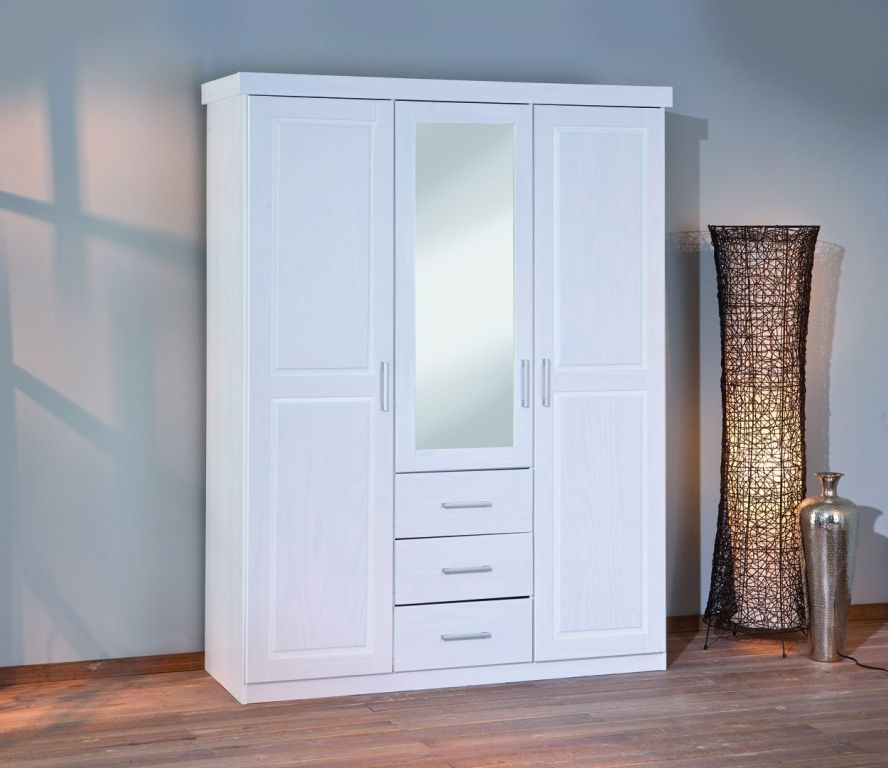 armoire v tements geraldo pin massif ton blanc sb meubles discount. Black Bedroom Furniture Sets. Home Design Ideas
