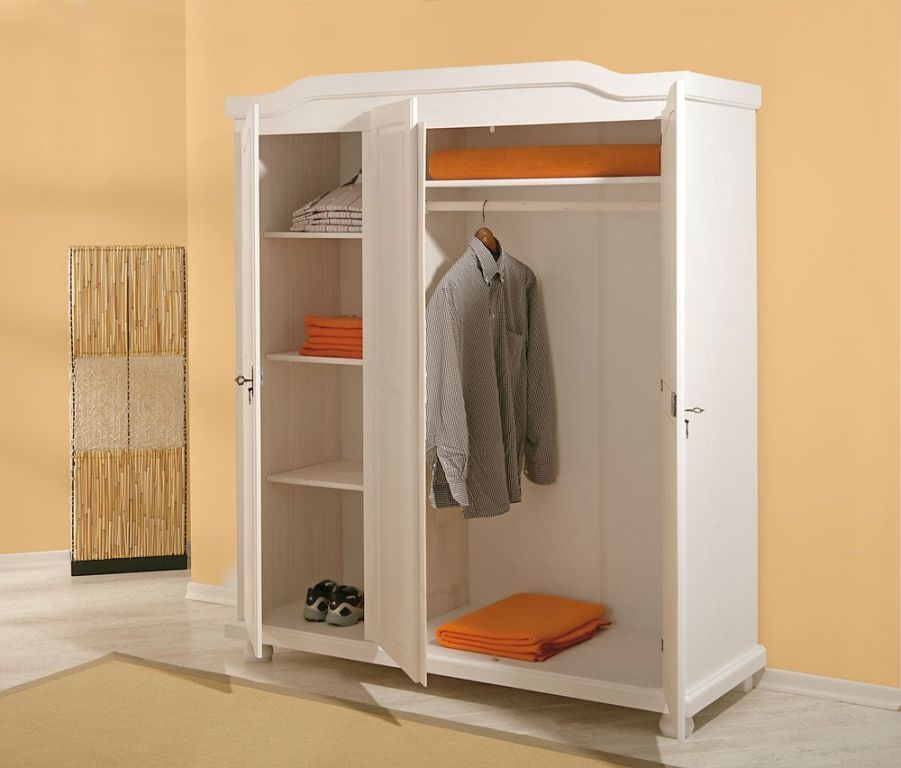 armoire v tements bastian pin massif ton blanc sb. Black Bedroom Furniture Sets. Home Design Ideas