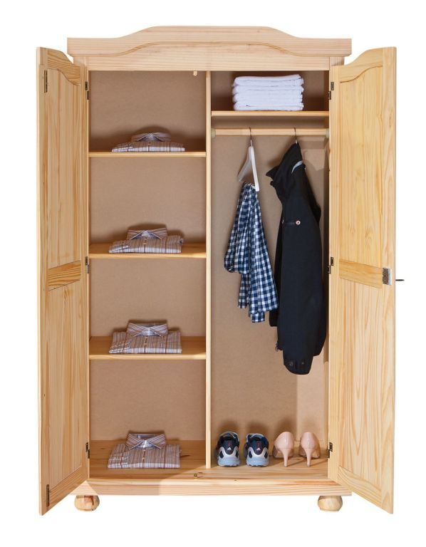 armoire v tements genf pin massif sb meubles discount. Black Bedroom Furniture Sets. Home Design Ideas