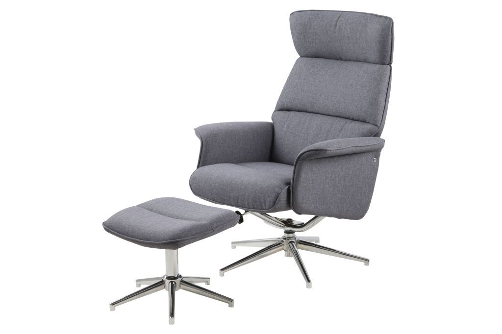 Fauteuil relax avec repose pied alura gris fonc sb - Fauteuil relaxation pivotant avec repose pieds ...