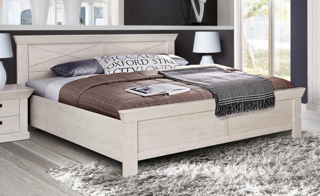 cadre de lit kashmir 180x200cm pin blanc sb meubles discount. Black Bedroom Furniture Sets. Home Design Ideas