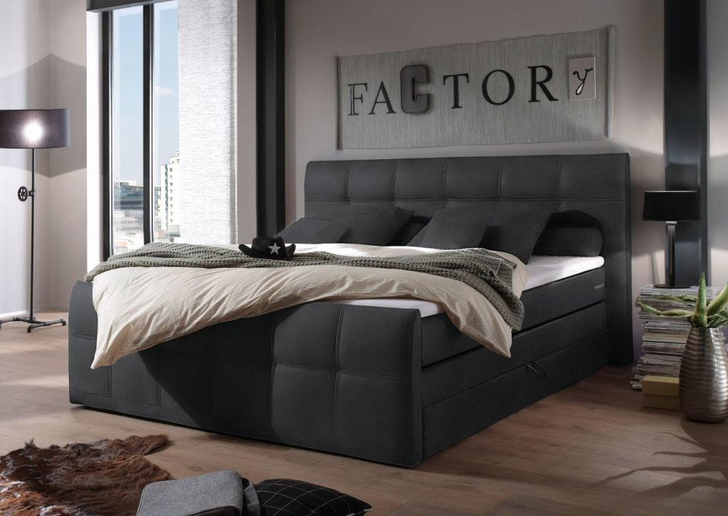 lit boxspring sacramento 180 x 200 cm anthracite sb meubles discount. Black Bedroom Furniture Sets. Home Design Ideas