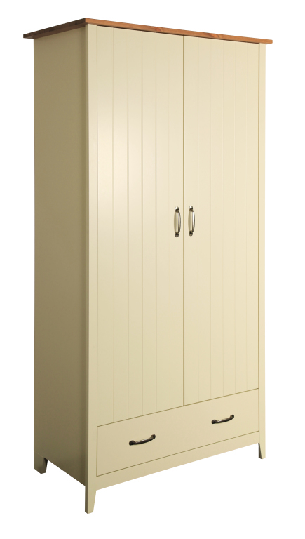 armoire v tements norfolk 104 pin massif cr me sb meubles discount. Black Bedroom Furniture Sets. Home Design Ideas