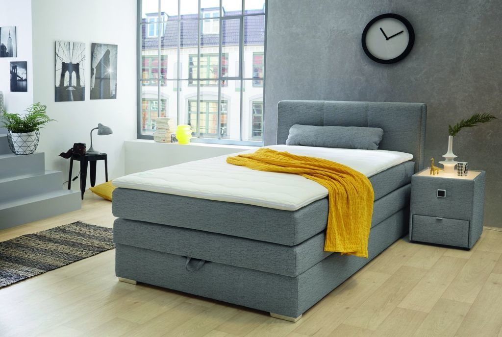 lit boxspring eve 120 x 200 cm ton gris sb meubles discount. Black Bedroom Furniture Sets. Home Design Ideas