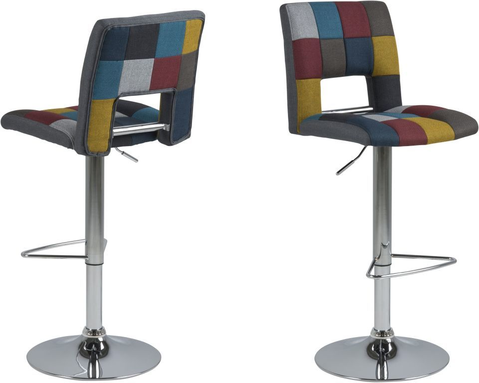 lot de 2 tabourets de bar sylvia patchwork sb meubles. Black Bedroom Furniture Sets. Home Design Ideas