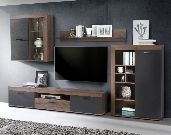 wohnwand valentin modern 300 cm breit eiche schwarz braun. Black Bedroom Furniture Sets. Home Design Ideas