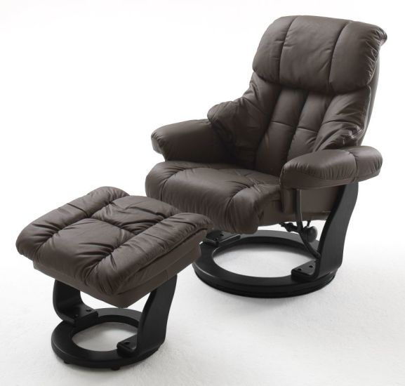 fauteuil relax avec repose pied calgary ton marron noir. Black Bedroom Furniture Sets. Home Design Ideas