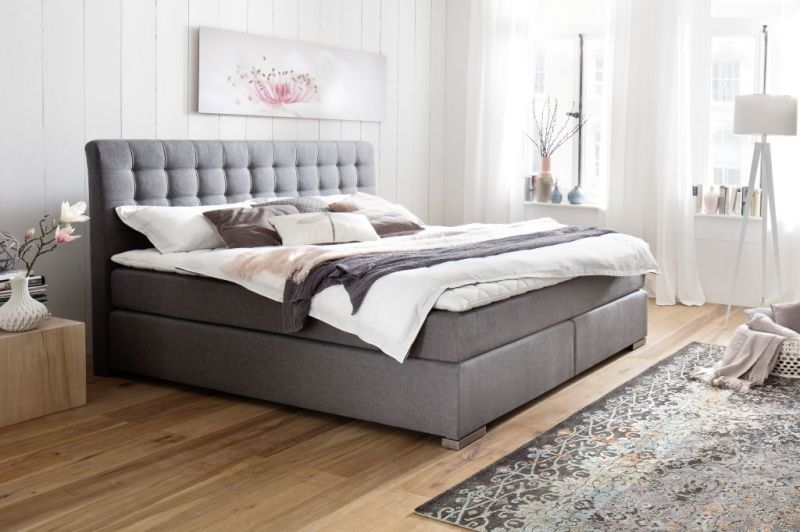 boxspringbett lenno 160x200cm grau sb m bel discount. Black Bedroom Furniture Sets. Home Design Ideas